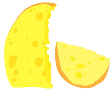 Two large pieces of cheese. Clipart in the style of a cartoon.