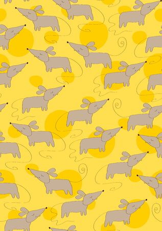 Pattern of cute gray mice on a yellow  of cheese with holes Ilustracja