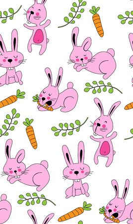 Pattern cute pink rabbits with carrots and green twigs Ilustracja