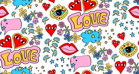 Seamless  comic lettering eyes Ilustracja