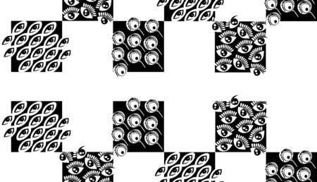 Pattern of black squares with hand drawn cartoon elements.