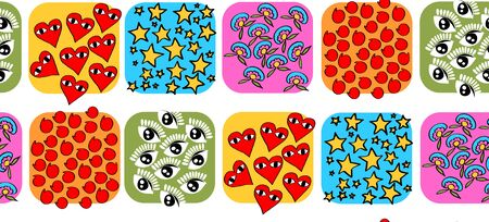 Pattern colored tiles with drawings of flowers, hearts, stars