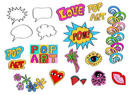 Set of elements for design in the style of pop art and comics