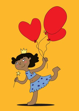 A funny black girl with a crown and a magic wand stands on one leg and holds red balloons.