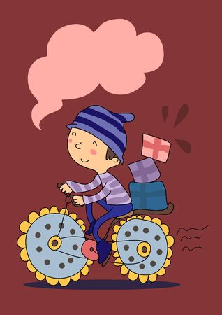 Vector drawn Cute cartoon boy in striped hat and sweater rides a flower bike with boxes on the trunk. Greeting card with space for text