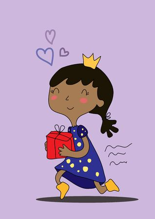 Vector drawn cute cartoon black girl with a crown on her head carries a gift box and smiles. Hurries and thinks about love.