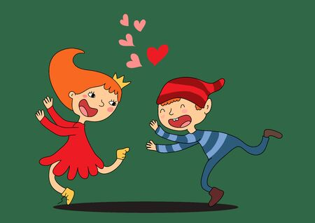 Drawn cartoon lovers girl and boy play catch-up. The girl runs away and screams. The boy tries to catch her. There are many hearts above them. Vector illustration Ilustração
