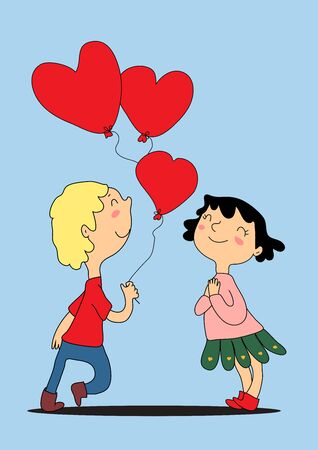 Funny drawn girl and boy looking at each other, vector greeting card. The boy gives the girl three red balloons in the shape of hearts. Satisfied and happy, the brunette girl folded her arms across her chest.