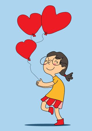 Vector drawn happy girl in glasses with red hearts balloons runs. Postcard