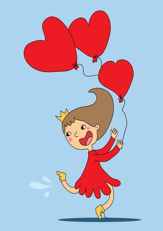 Funny cartoon girl with a crown on her head and a red dress rejoices and runs with balloons hearts. Vector illustration