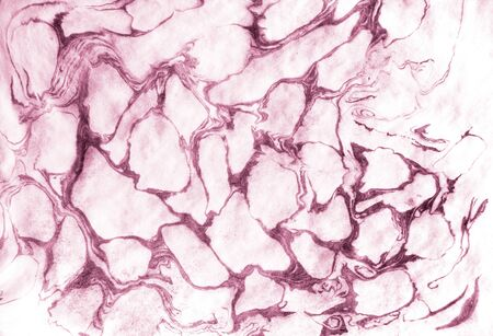 Paper with pink streaks of paint in the form of organic structured cells
