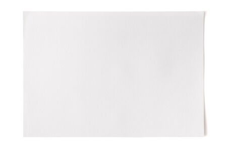 A sheet of white watercolor textured paper with a shadow on a white background isolated. Copy space text
