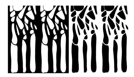 Immagine vettoriale di rami di albero intrecciati in bianco e nero Vettoriali