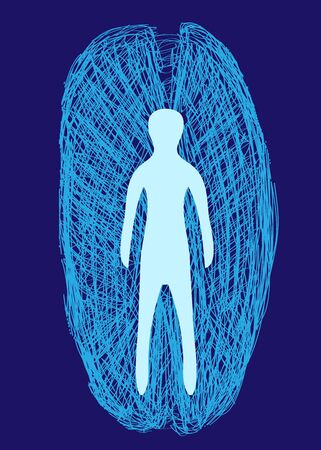 Vector human figure with drawn lines blue aura on dark blue