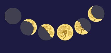 Vector drawing of the moon in seven phases of illumination