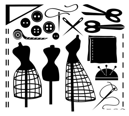 Vector sewing tools and accessories on a white