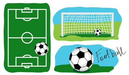 Football field top view. The ball on the grass. A goal with a ball on a part of a football field. Stock Illustratie