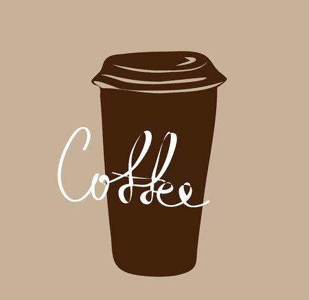 Vector silhouette of a coffee Cup with a lid and coffee inscription on a brown background