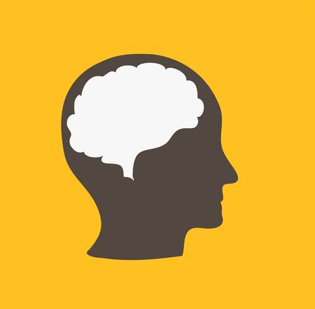 Human head in profile with a brain contour on a yellow background Vettoriali