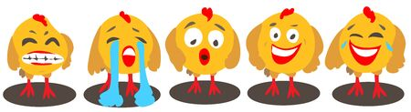 Vector cartoon chickens with different emotions on a white background isolated: anger, tears, surprise, joy, laughter  イラスト・ベクター素材