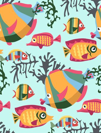 Vector seamless pattern bright colored cartoon fish swimming in the sea with algae and corals