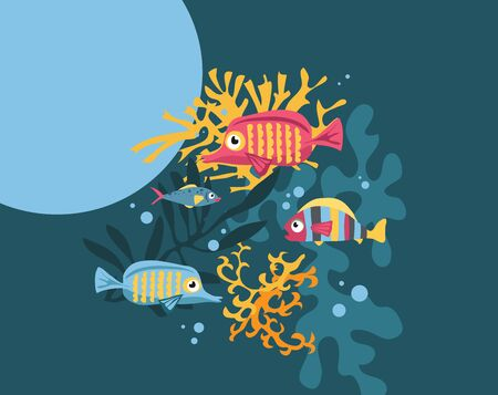 Vector greeting card with copyspace bright colored cartoon fishs swimming in the sea with algae and corals Illustration