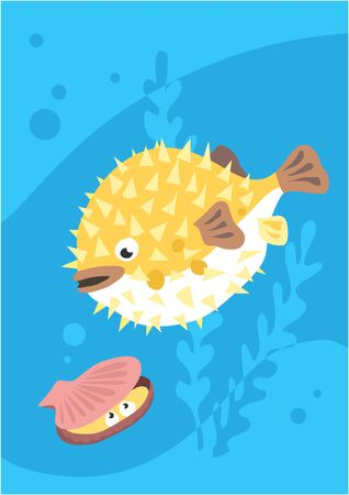 Vector image of fish hedgehog on blue with silhouette of waves and algae