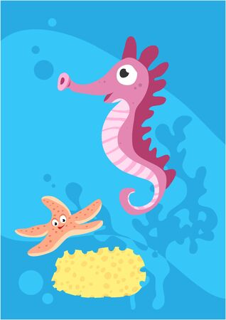 Vector image of fish seahorse on blue background with silhouette of waves and algae. Gift card for collecting for children. Иллюстрация