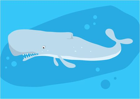 Vector image of fish cachalot on blue with silhouette of waves and algae. Иллюстрация