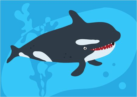 Vector image of fish killer whale on blue background with silhouette of waves and algae. Gift card for collecting for children.