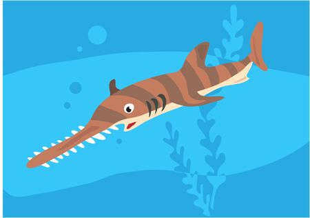 Vector image of fish sawfish on blue with silhouette of waves and algae.