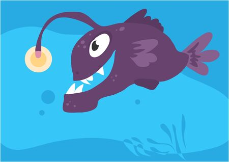 Vector image of fish lantern on blue background with silhouette of waves and algae. Gift card for collecting for children. Иллюстрация