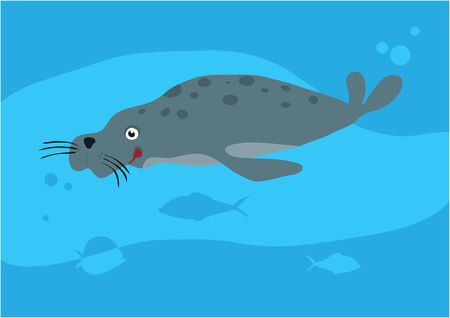 Vector image of fish on blue background with silhouette of waves and algae. Gift card for collecting for children.