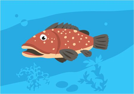 Vector image of fish merou on blue background with silhouette of waves and algae. Gift card for collecting for children. Иллюстрация