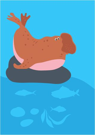 Vector of elephant seal on blue with silhouette of waves and algae. Иллюстрация