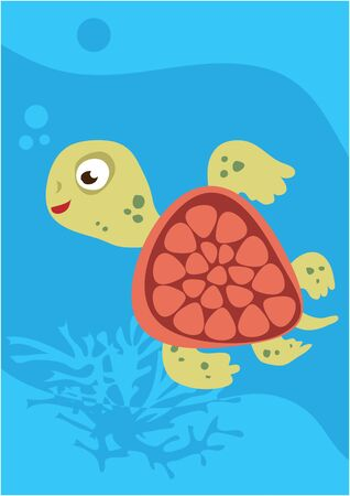 Vector of turtle on blue with silhouette of waves and algae. Illusztráció