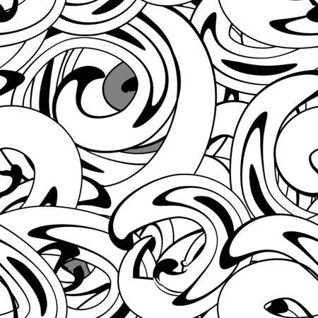 Vector seamless abstract pattern  with twisted black and white circles in graffiti style