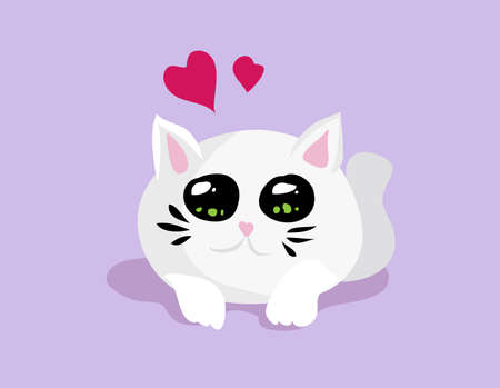 Vector cute cartoon white cat with big eyes and hearts Illustration