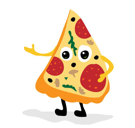 Vector cute cartoon pizza slice with eyes stands at a loss and points to the place for the text