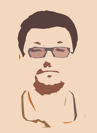 Vector simple drawing in pop art style portrait of a man with glasses Illustration