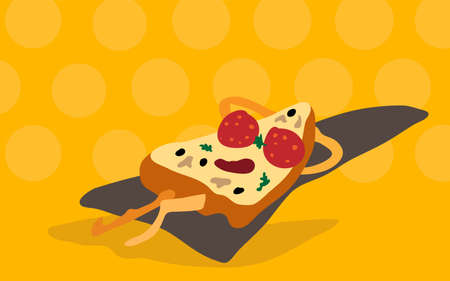 Vector funny cartoon pizza slice in sunglasses made of sausage circles sunbathing with his hands under his head on a yellow background