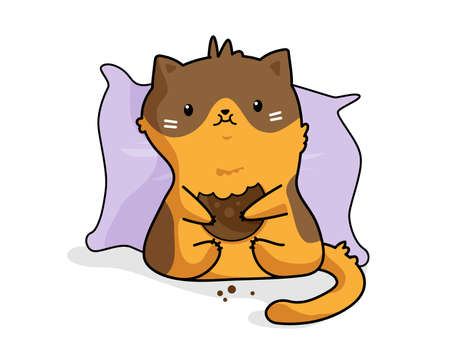 Vector sticker cute cartoon funny red cat eating a cookie on a pillow on a white background.
