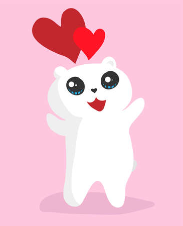 Vector cute cartoon white bear with big eyes and hearts is happy and raises its paws up Illustration