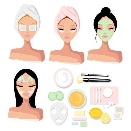 Vector set portrait of a girls with beauty procedures. Cosmetic face mask, patches, taping and items for skin care and preserving youth