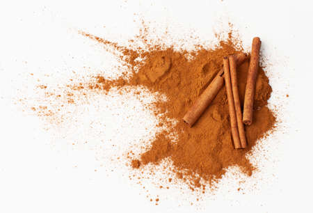 Cinnamon sticks in the recipes of cosmetics and cooking, folk medicine. Copy space text.