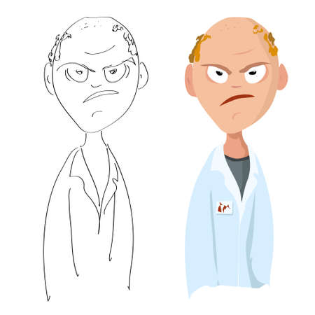 Vector cartoon portrait of a disgruntled angry male lab assistant with a bald head on a white background Illustration