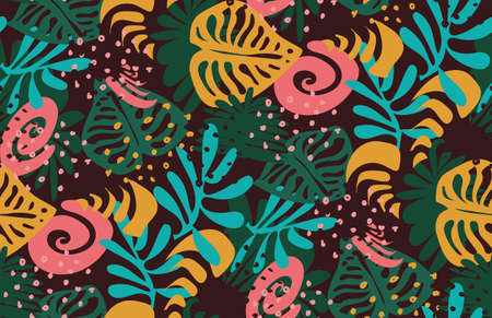 Vector pattern with colored tropical leaves on a dark background 矢量图像
