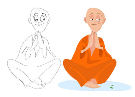 Vector cartoon portrait of a sitting Lama in the Lotus position on a white background Illustration
