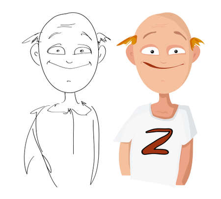 Vector cartoon portrait of a bald good-natured man in a t-shirt and his sketch on a white background