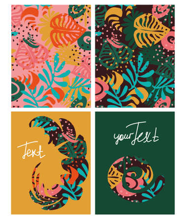 Set of vector templates with colored tropical leaves with space for text